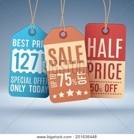 Vintage hanging price tags or sale labels. Vector shopping promotion label and tag, half price and special offer illustration concept