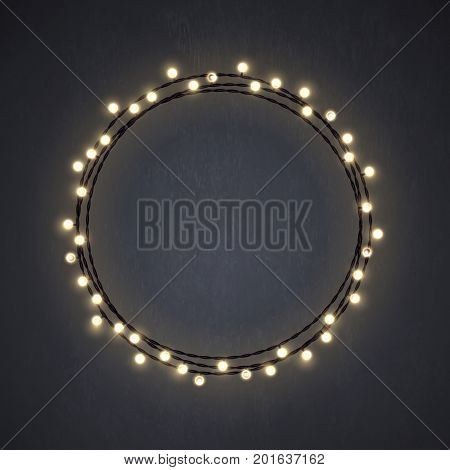 Warm colored Christmas incandescent light string wreath on the dark grey background. Vector outdoor patio lights.