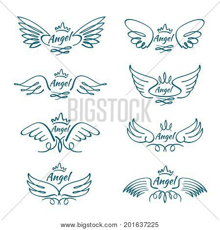 Elegant angel flying wings. Hand drawn wing tattoo vector design collection. Angel wing line, illustration of freedom tattoo sketch hand drawn