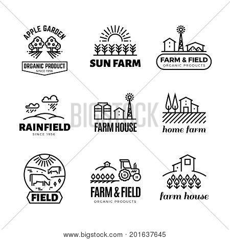 Retro farm and organic products vector emblems and logos. Vintage line farming labels. Emblem farm house, apple garden illustration