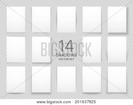 White sheets of paper with different drop shadow effects. Vector shadows template for posters and background decoration. Set of shadow paper page illustration