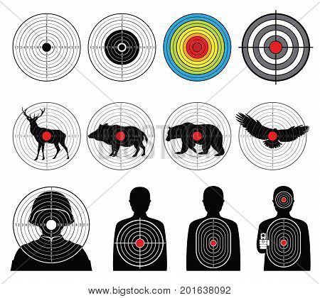 Targets for shooting with silhouette man and animals vector set. Target silhouette animal and man illustration