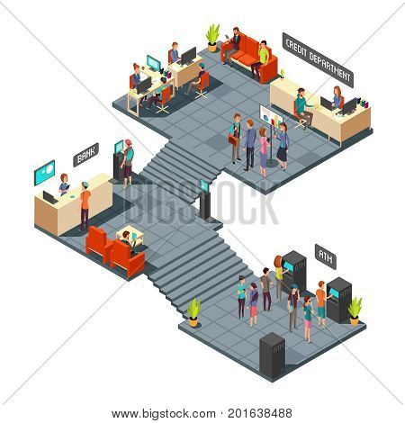 Commercial bank office 3d isometric interior with business people inside. Banking and finance vector concept. Finance bank room with atm illustration