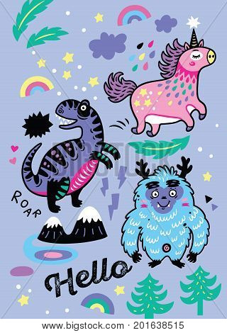 Magic design element set with unicorn, dinosaur and dino. Vector illustration for print design