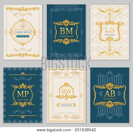 Royal wedding design. Vector card templates with ornamental monograms. Illustration of banner with royal monogram