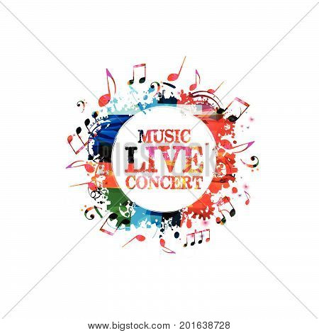 Music poster design vector illustration. Colorful music banner for music concert. Music notes banner isolated