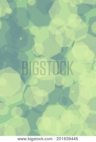 Hexagonal semitransparent green shapes overlapping on dark green background. Modern abstract vector background. Vector EPS 10