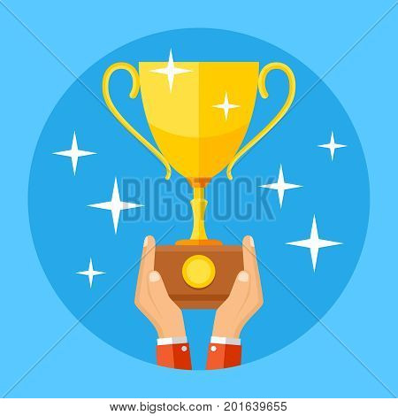 Hands holding gold sports trophy cup. Success, winning, championship business concept. Success reward in hand, prize golden cup trophy illustration