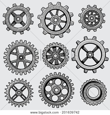 Retro sketch mechanical gears. Hand drawn vintage cog wheel parts of factory machine vector illustration. Gear cog wheel sketch, hand drawing mechanism