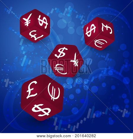 Vector dices with dollar, pound, euro and yen symbols on blue background. Forex market, online trading, stock exchange and bussines concept.