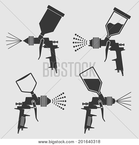 Auto body industrial painting spray gun vector icons. Auto paint spray, airbrush equipment gun illustration