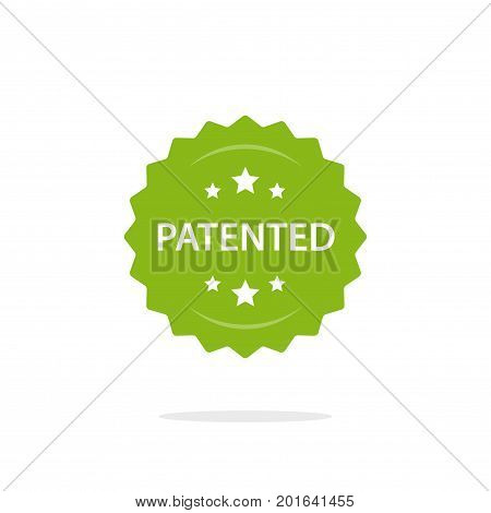 Patented stamp vector label, flat cartoon patent badge