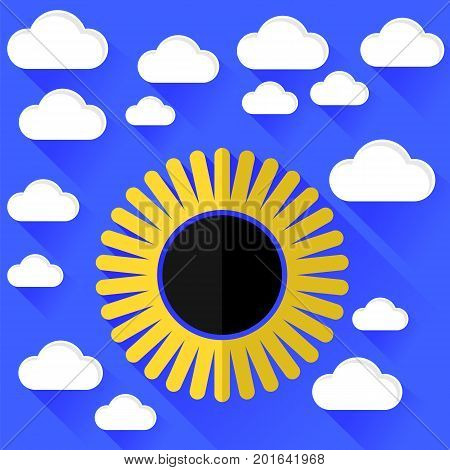Solar Eclipse and Clouds Isolated on Blue Background