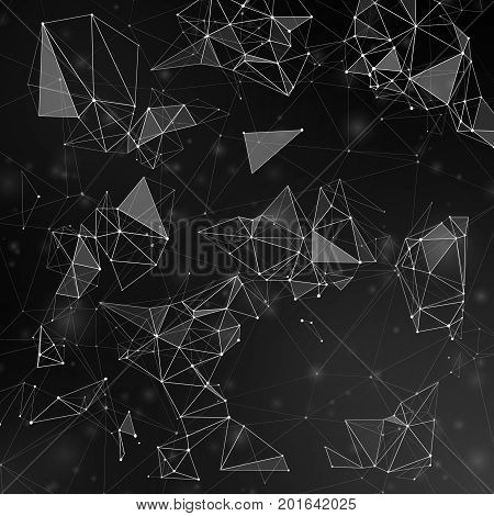 Fractal polygonal shapes connecting by lines with dots vector background. Fractal pattern network abstract, background polygon structure illustration