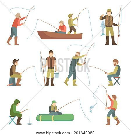 Fisherman flat icons. Fishing people with fish and equipment vector set. Fishing equipment, leisure and hobby catch fish illustration