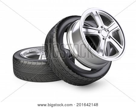Aluminum alloy wheel and tyre for car. 3d illustration isolated on a white background.