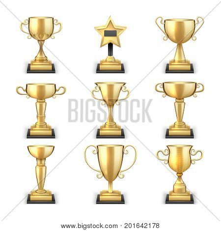 Winning golden trophy cups and sports awards vector collection isolated on white background. Cup golden achievement, victory and prize sport illustration