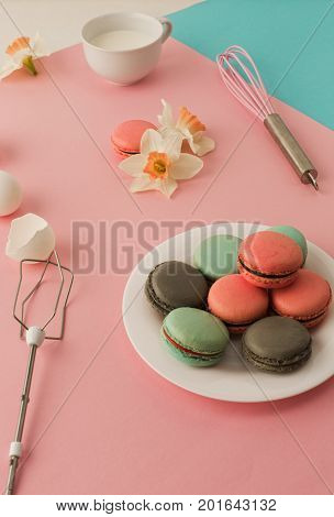 The cookies with cream on pink background