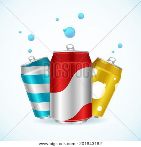 Realistic Steel Color Can Set Soft Drink with Blue Bubble Refreshing Summertime Beverage Concept Vector illustration of three cans view