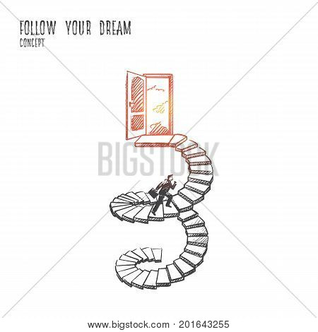 Follow your dream concept. Hand drawn man in suit climbs the stairs. Open door as a symbol of new life, dream come true isolated vector illustration.
