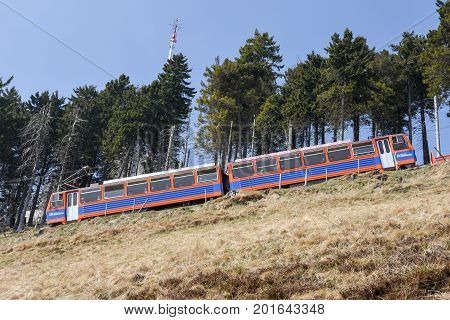 Rack Train That Rises To The Summit Of Mount Generoso