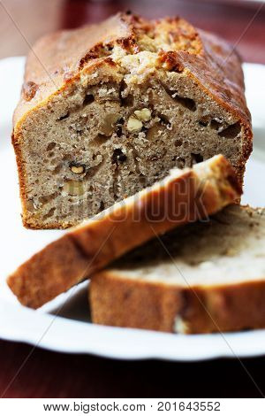 Homemade Banana cake with walnuts. Fresh baked banana walnut cake.Homemade banana bread.