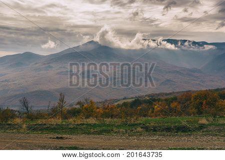 Gloomy landscape in Crimean mountains at fall season