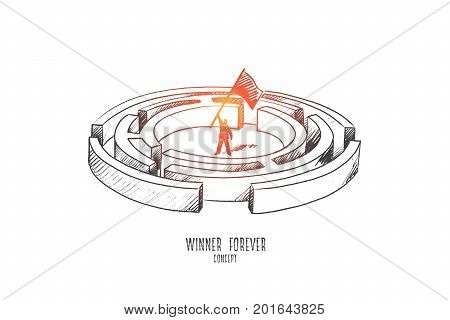 Winner forever concept. Hand drawn person winner waving a flag. Man in the labyrinth isolated vector illustration.
