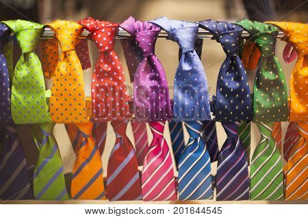 Neckties in the shop. Men fashion and shopping concept