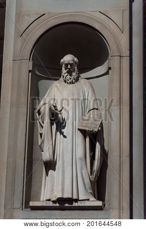 Guido Aretino. Statue in the Uffizi Gallery, Florence, Tuscany, Italy