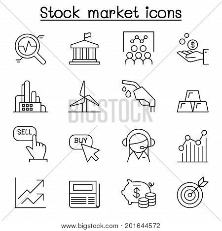 Stock market Stock Exchange Stock money icon set in thin line style