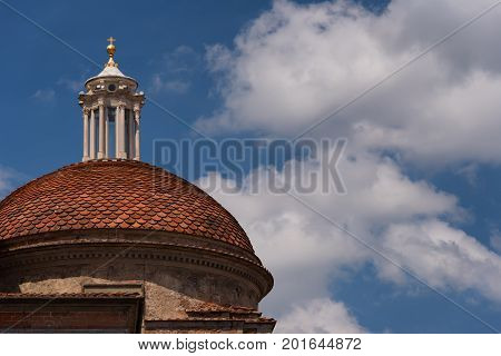 The dome of Medici Chapels in the San Lorenzo Church in Florence, Tuscany, Italy