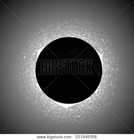 Full Solar Eclipse Isolated on Black Background