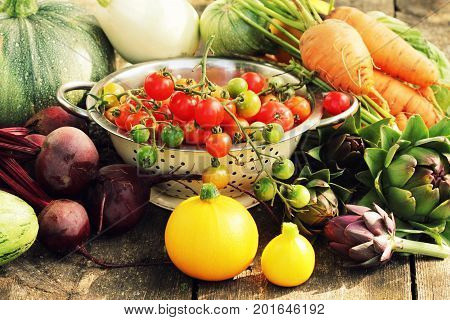 Fresh raw vegetable ingredients for healthy cooking or salad making on rustic table , copy space. Diet or vegetarian food concept .