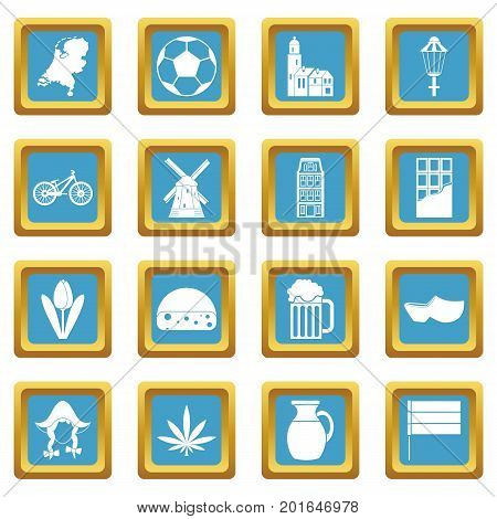 Netherlands icons set in azur color isolated vector illustration for web and any design