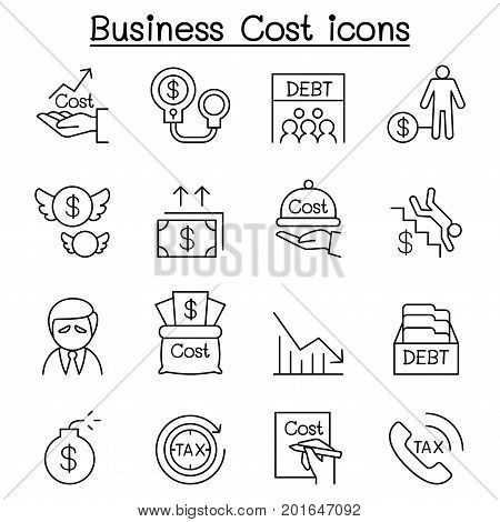 Business Cost Debt Tax Crisis icon set in thin line style