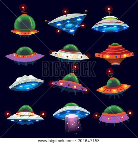 Set of colorful alien space ships in the sky