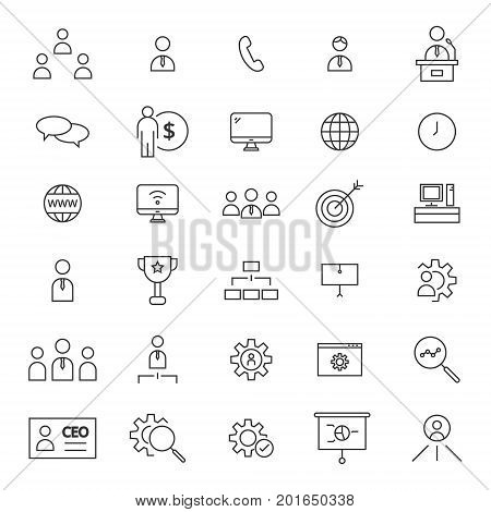 Simple set of 30 line icons for CEO.
