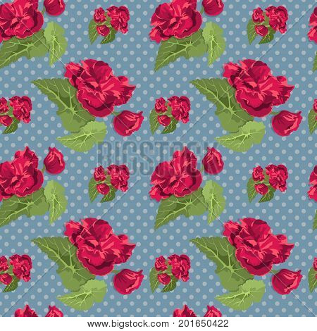 Flowery seamless pattern with elegant red flowers green leaves on dotted background vector illustration
