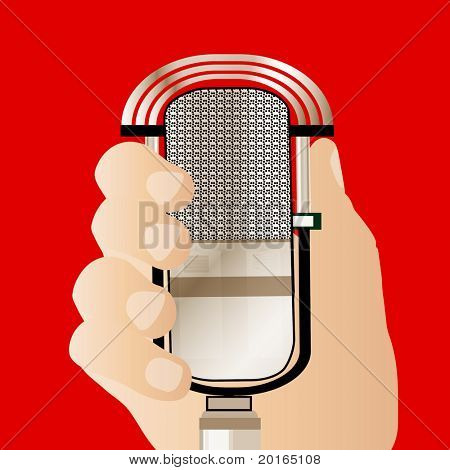old fashioned microphone  handheld