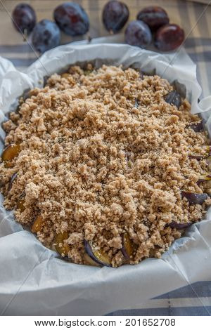 home made sweet plum cake with streusel
