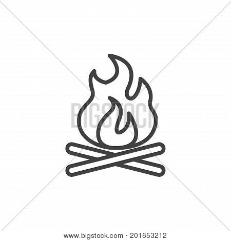 Bonfire line icon, outline vector sign, linear style pictogram isolated on white. Campfire, fire symbol, logo illustration. Editable stroke. Pixel perfect vector graphics