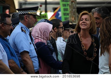 BARCELONA/SPAIN - 26 AUGUST 2017: Maria Dolores de Cospedal, spanish ministry of defense, participating to the protest against terrorism in Barcelona. It is the first time a king of Spain participates in a demonstration