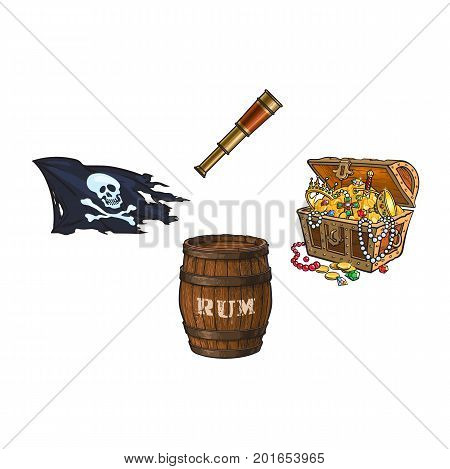 vector cartoon pirates symbols set isolated iilustration on a white background. Skull and cross bones jolly roger flag, treasure chest full of gold, rum barrel, spyglass sail telescope