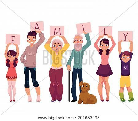 Grandparents and grandchildren holding boards with letters of word FAMILY, cartoon vector illustration on white background. Happy grandparents and grandchildren holding letters of word Family