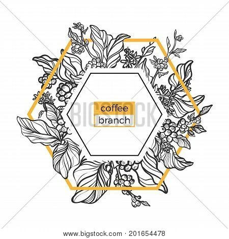 Trendy template. Coffee branches with leaves flowers and natural coffee beans. Design. Black and white gold. Copy space. Vector illustration in icosahedron Eps.10