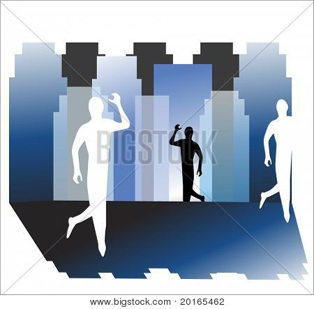 man in the city illustration