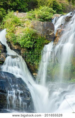 beautiful waterfall in forest, Doi Inthanon National Park, Chiang Mai, Thailand