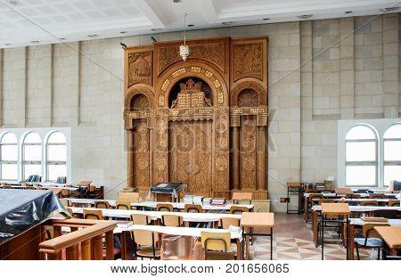 HEBRON ISRAEL - APRIL 12 2009: Interior of synagogue in Hebron