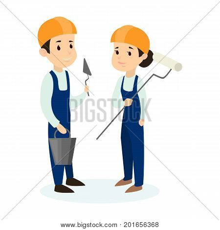 Isolated builders couple on white background. Brickbuilder and painter.